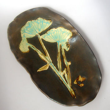 Handmade Ceramic Serving Platter with Wildflowers with by Clayshapes