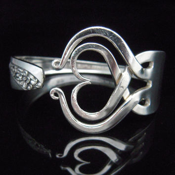 Fork Bracelet, Eco Friendly Silverware Jewelry in Heart Design Number Three