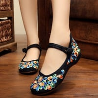 Women Fashion Flat Shoes Chinese Style Women's Flats Mary Janes Casual Embroidery
