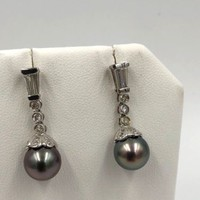 18K White Gold South Sea Pearl Diamond Dangle Drop Earrings
