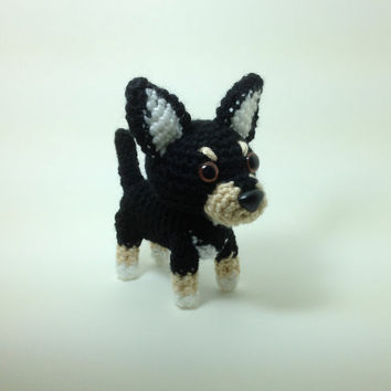 Chihuahua Amigurumi Dog Handmade Crochet Dog Stuffed Animal Doll / Made to Order