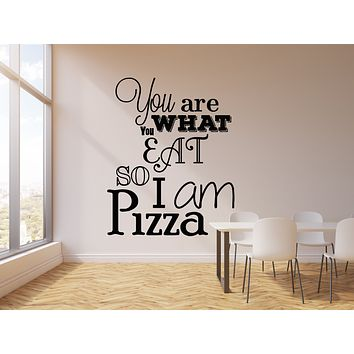 Vinyl Wall Decal Funny Quote Words Pizza Eat Pizzeria Kitchen Decor Stickers Mural (g1549)