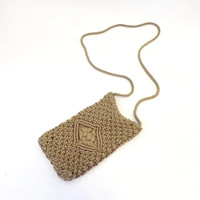 Vintage1970s Boho Purse Tan Natural Ecruc Woven Cross Body Purse Macrame Crochet Small Purse Hippie Summer Beach Boho Bag Folk Concert Purse