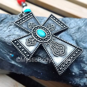 Turquoise Cross Pendant Necklace Celtic Jewelry Vintage Bronze Blue Stone Christian Trinity Rosary Rustic Irish Beaded Red Black White Beads