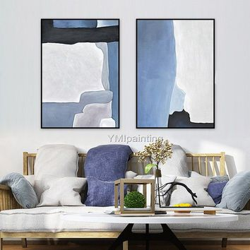 Original Geometric Nordic mordern abstract blue acrylic Painting on canvas Wall Art Pictures for living room home cuadros quadro decoracion