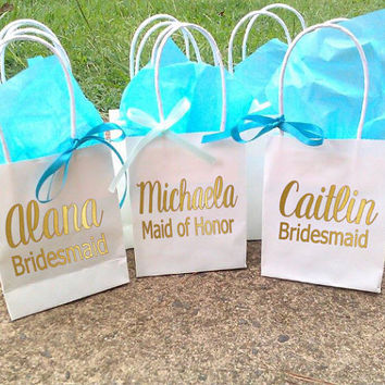 Bridesmaid Gift Bags, Gift bag set, Party gift bag, Wedding favors, Bridesmaid names
