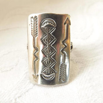 Sterling Navajo Ring, Native American, Old Pawn Ring, Size 6, Vintage Navajo Jewelry