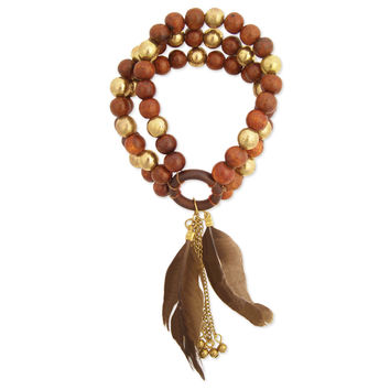 Wood and Gold Beaded Stretch Bracelet