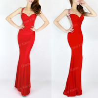 2014 CHEAP! Sexy Mermaid Style Evening Party Gown Bridesmaid Long Prom Dresses
