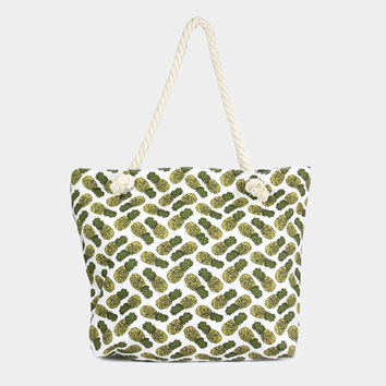 Green & White Pineapple print beach tote bag with cotton rope handles with zip closure