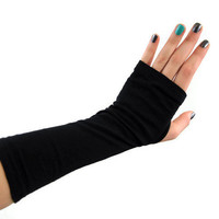 Black Fingerless Gloves Arm Warmer Wrist Warmer Fall