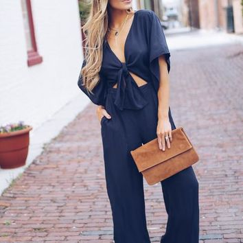 Philly Pocketed Tie Jumpsuit - Navy