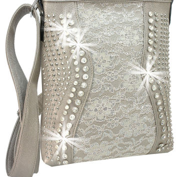 Rhinestone and Stud Accent Metallic Lace Cross Body Sling In Pewter