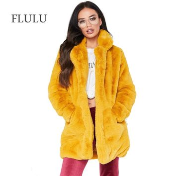 FLULU Plus Size Winter Casual Faux Fur Coat Women Fashion Vintage Long Sleeve Coat Solid Female Fur Jacket casaco feminino