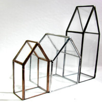 Glass House - Tiny House - Terrarium - House Terrarium - Feather