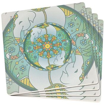 PEAPGQ9 Mandala Trippy Stained Glass Elephant Set of 4 Square SandsTone Art Coasters