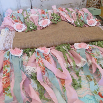 Summer tattered burlap table runner shabby chic recycled fabrics in pinks, blues, greens one of a kindanita spero