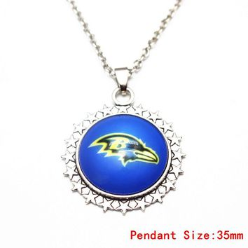 3pcs Silver 20 Inch Chains Necklace Vintage Star Football Baltimore Ravens Glass Pendant Necklace For Women Men Necklace Jewelry
