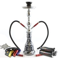 "NeverXhale Starter Series: 18"" 1 or 2 Hose Convertible Hookah Shisha Combo Kit Set w/ Never Exhale Charcoal, Hydro Herbal Molasses, and Bowl Screen (Frosted Metallic Black)"