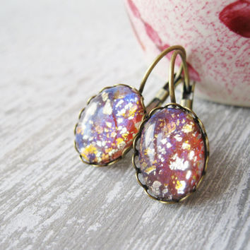 Pink Harlequin Opal Earrings, Vintage Glass Cherry Brand, Pink Gold Earrings, Prom Jewellery, Summer Jewellery, Retro Pink, lever backs.
