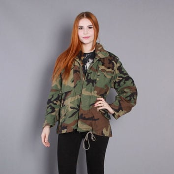 80s CAMO Military FIELD COAT / 1980s Army Green Parka Jacket, xs-s
