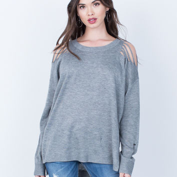 Destroyed Knit Sweater Top