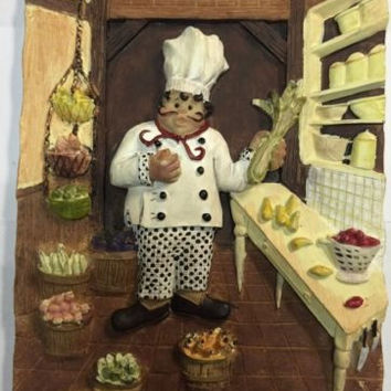 Riggsbee French Chef at Kitchen Table 3D Resin Tile/Wall Hanging/Plaque