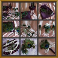 Eggplant and White 16pc Peacock Feather Wedding Accessories Ensemble
