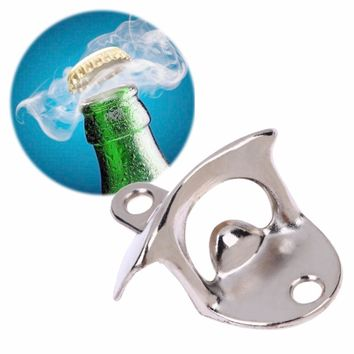High Quality Convenient Stainless Steel Retro Wall Mount Bar Beer Soda Glass Cap Bottle Opener Cooking Tools Kitchen Accessorie