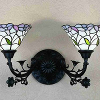 "0-034237>2-Light Victorian Sconce 9"" Daffodil"