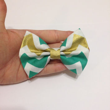 Turquoise and Metallic Gold Chevron Fabric Hair Bow - 4 Inch Wide