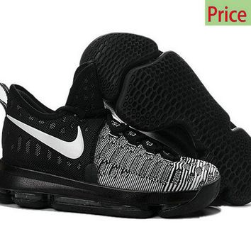 watch c85bd b91b1 Cheapest Big Boys Youth KD 9 Flyknit Oreo Black White shoe