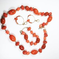 Orange Jewelry Set Vintage 1980s 1990s Beaded Necklace Gold Tone Hoop Earrings Bracelet Pierced Earring Designer Tag NWT Faceted Lucite