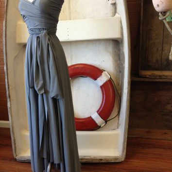 Oyster Bay Grey Octopus Maxi Infinity Wrap Dress