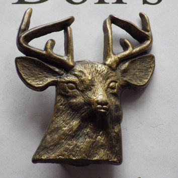 1970s Brass Deer Head Belt Buckle Vintage