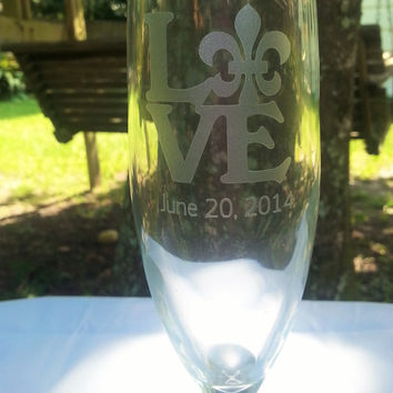 Love Fleur De Lis Wedding or Anniversary Champagne Glasses Nola weddings New Orleans wedding bridal party gifts. Toasting flutes