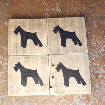 Schnauzer - Natural Wood Coaster with Schnauzer Stencil - Beachy Look - Made from Recycled Pallet