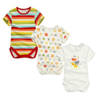 3pieces/lot Baby Boys Girls short sleeve Rompers 2017 Newborn Baby's Clothes Kids Costume Jumpsuit&Rompers KF154