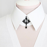 White Detachable Collar Choker Snow White Collar Luxury Black Goth Chandelier and Crystal Pendant Steampunk Hipster Shirt Collar Gothic