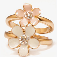 Lacquer Flower Ring Set