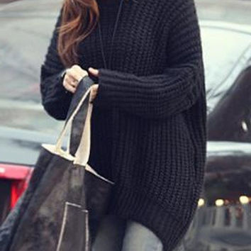 Fashion Women Black Pullovers Sweater Hem Irregular Loose Hooded Dress One Size
