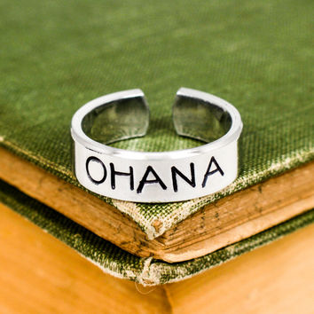 Ohana Ring - Affirmations - Aluminum Hand Stamped Ring