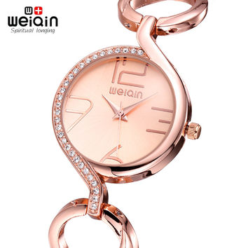 WEIQIN Brand Luxury Crystal Gold Watches Women Fashion Bracelet Watch Quartz Shock Waterproof Relogio Feminino orologio donna