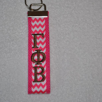Gamma Phi Beta Sorority (OFFICIAL LICENSED PRODUCT)  Monogrammed Key Fob Keychain Cotton Webbing Ribbon Wristlet