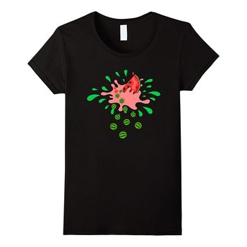 Watermelon Rain Graphic T-Shirt | Funny Pink Splatter Tee