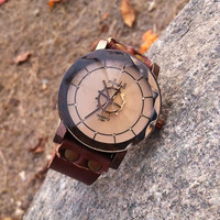 Leather Wrist Watch - Women's Lady's Fashion Gear Watch Classic Personalized Brown Leather Strap