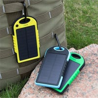 Waterproof Solar Power Bank 5000mAh Portable Charger Travel Enternal Battery Powerbank for Xiaomi phone 5S 6 4S HTC RDZ483
