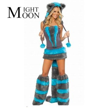 MOONIGHT Cat Corset Costume 2017 Halloween Top Selling Fur Corset costume, Fashionable Women Winter Style Furry Party Costume