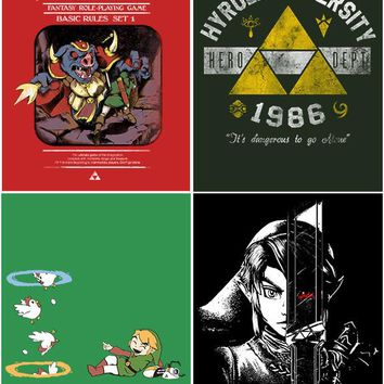 Set of 4 Legend Of Zelda Geeky Wall Plaques Home Decor Gamer Gaming