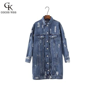 2017 New Cool Long Denim Womens Deep Blue Jackets  Full Vintage Button Frayed Loose Western Style Ladies Denim Jackets